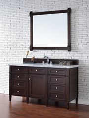 James Martin 650-V60S-BNM-2CAR Brittany 60 Inch Burnished Mahogany Single Vanity with 2cm Carrara White Stone Top