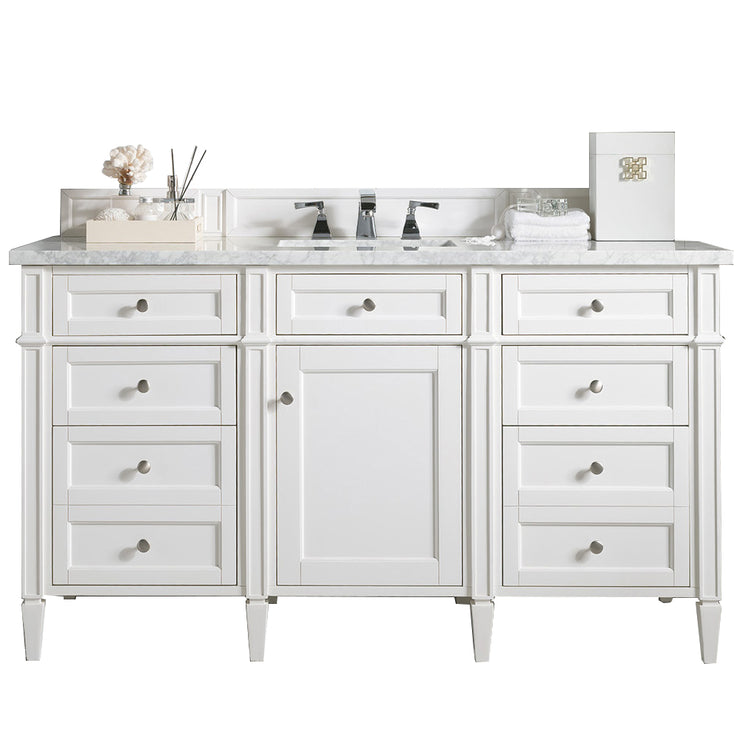 James Martin 650-V60S-CWH-3SHG Brittany 60 Inch Cottage White Single Vanity with 3cm Shadow Gray Quartz Top