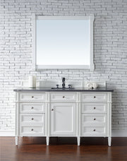 James Martin 650-V60S-CWH-3SNW Brittany 60 Inch Cottage White Single Vanity with 3cm Snow White Quartz Top