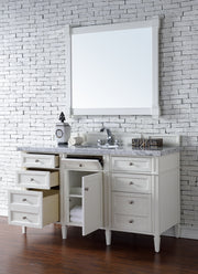 James Martin 650-V60S-CWH-4CAR Brittany 60 Inch Cottage White Single Vanity with 4cm Carrara White Stone Top