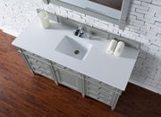 James Martin 650-V60S-UGR-2CAR Brittany 60 Inch Urban Gray Single Vanity with 2cm Carrara White Stone Top