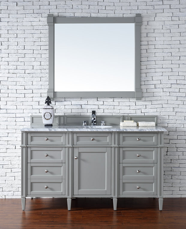 James Martin 650-V60S-UGR-3SHG Brittany 60 Inch Urban Gray Single Vanity with 3cm Shadow Gray Quartz Top