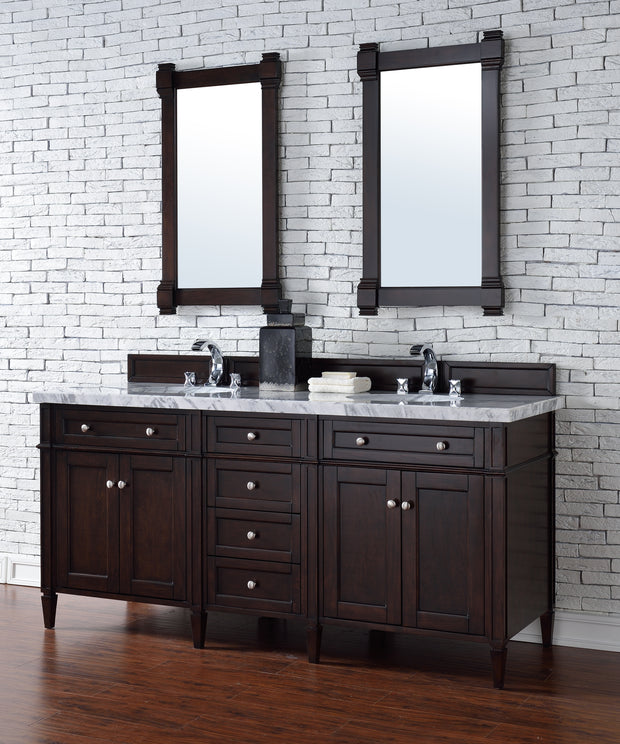 James Martin 650-V72-BNM-2CAR Brittany 72 Inch Burnished Mahogany Doublengle Vanity with 2cm Carrara White Stone Top