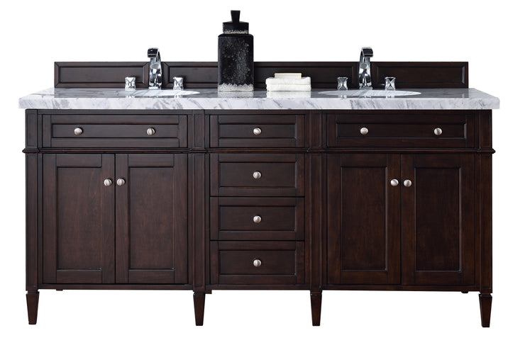 James Martin 650-V72-BNM-3SHG Brittany 72 Inch Burnished Mahogany Double Vanity with 3cm Shadow Gray Quartz Top