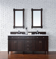 James Martin 650-V72-BNM-4CAR Brittany 72 Inch Burnished Mahogany Double Vanity with 4cm Carrara White Stone Top