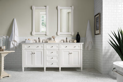 James Martin 650-V72-CWH-3CAR Brittany 72 Inch Cottage White Double Vanity with 3 CM Carrara Marble Top