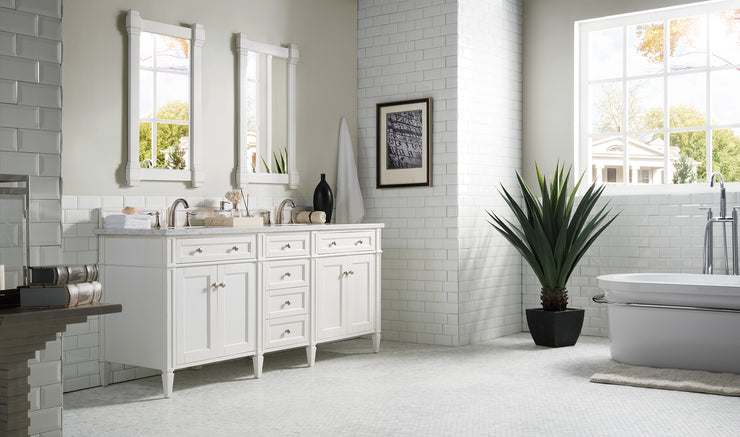 James Martin 650-V72-CWH Brittany 72 Inch Double Cabinet, Cottage White