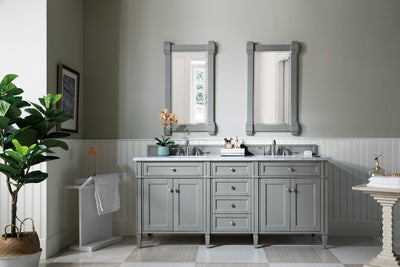 James Martin 650-V72-UGR-2DSC Brittany 72 Inch Urban Gray Double Vanity with 2cm Santa Cecilia Stone Top