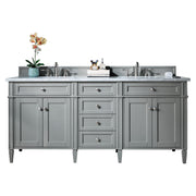 James Martin 650-V72-UGR-3CAR Brittany 72 Inch Urban Gray Double Vanity with 3 CM Carrara Marble Top