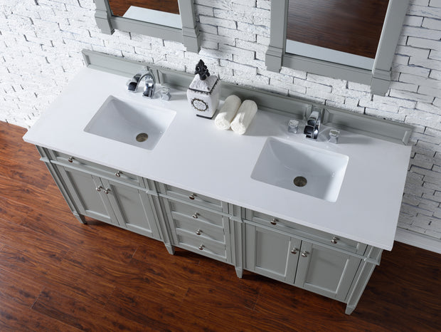 James Martin 650-V72-UGR-3SNW Brittany 72 Inch Urban Gray Double Vanity with 3cm Snow White Quartz Top