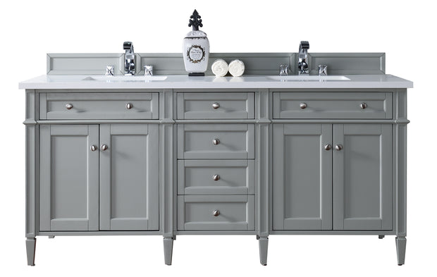 James Martin 650-V72-UGR-4BLK Brittany 72 Inch Urban Gray Double Vanity with 4cm Absolute Black Rustic Stone Top