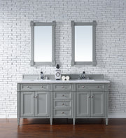 James Martin 650-V72-UGR-4DSC Brittany 72 Inch Urban Gray Double Vanity with 4cm Santa Cecilia Stone Top