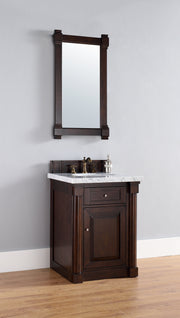 James Martin 770-V26-BNM-2BLK New Haven 26 Inch Burnished Mahogany Single Vanity with Absolute Black Rustic Stone Top