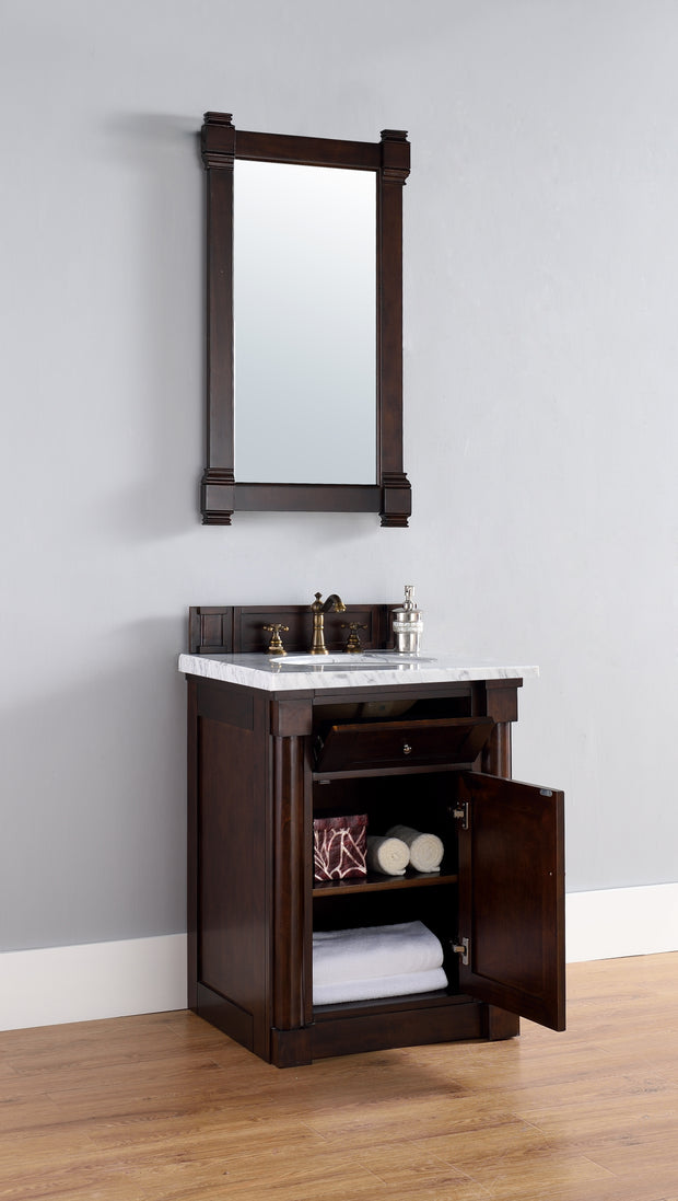 James Martin 770-V26-BNM-3SNW New Haven 26 Inch Burnished Mahogany Single Vanity with 3 CM Snow White Quartz Top