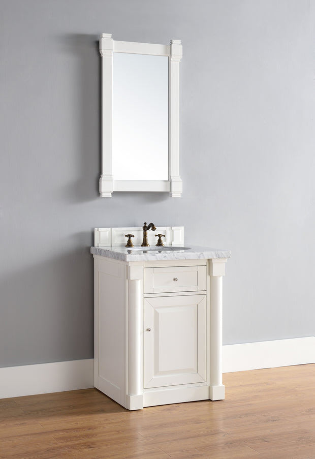 James Martin 770-V26-CWH-2BLK New Haven 26 Inch Cottage White Single Vanity with Absolute Black Rustic Stone Top