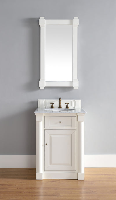 James Martin 770-V26-CWH-3SHG New Haven 26 Inch Cottage White Single Vanity with 3 CM Shadow Gray Quartz Top