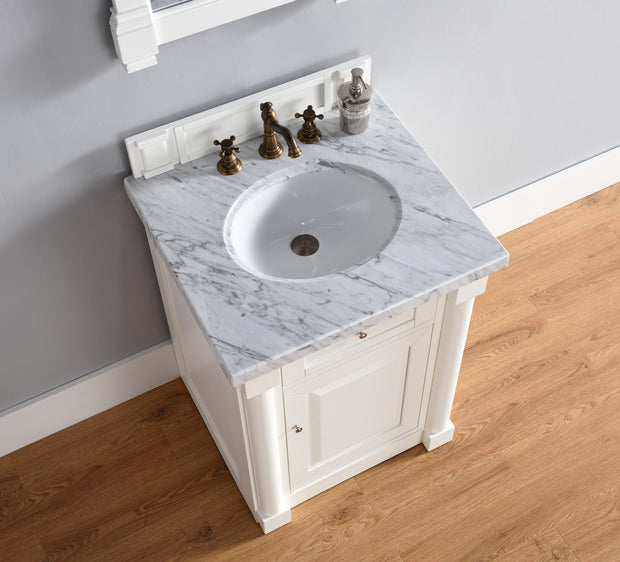 James Martin 770-V26-CWH-3SNW New Haven 26 Inch Cottage White Single Vanity with 3 CM Snow White Quartz Top