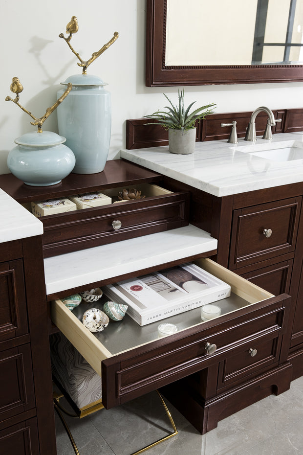 James Martin 825-V118-BNM-DU-AF De Soto 118 Inch Double Vanity Set in Burnished Mahogany with Makeup Table in 3 CM Arctic Fall Solid Surface Top