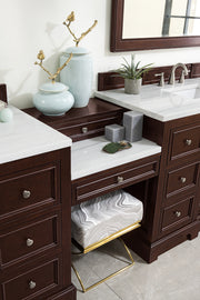 James Martin 825-V118-BNM-DU-CAR De Soto 118 Inch Double Vanity Set in Burnished Mahogany with Makeup Table in 3 CM Carrara Marble Top
