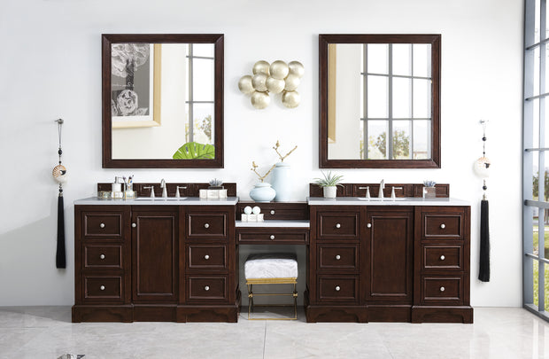James Martin 825-V118-BNM-DU-SNW De Soto 118 Inch Double Vanity Set in Burnished Mahogany with Makeup Table in 3 CM Snow White Quartz Top