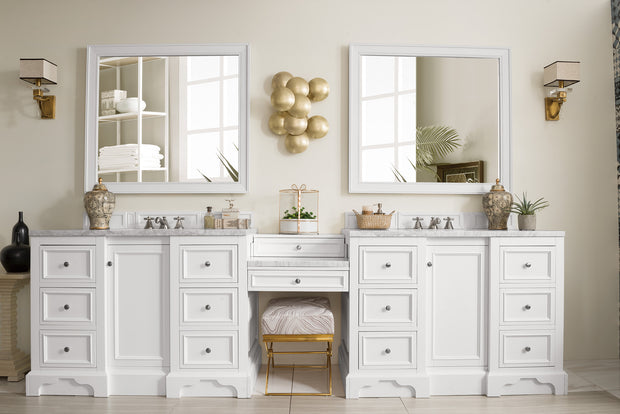 James Martin 825-V118-BW-DU-AF De Soto 118 Inch Double Vanity Set in Bright White with Makeup Table in 3 CM Arctic Fall Solid Surface Top