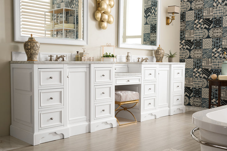 James Martin 825-V118-BW-DU-CAR De Soto 118 Inch Double Vanity Set in Bright White with Makeup Table in 3 CM Carrara Marble Top