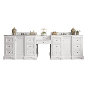 James Martin 825-V118-BW-DU-SNW De Soto 118 Inch Double Vanity Set in Bright White with Makeup Table in 3 CM Snow White Quartz Top