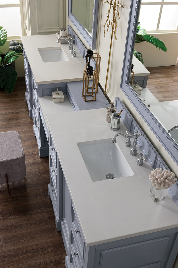 James Martin 825-V118-SL-DU-AF De Soto 118 Inch Double Vanity Set in Silver Gray with Makeup Table, 3 CM Arctic Fall Solid Surface Top