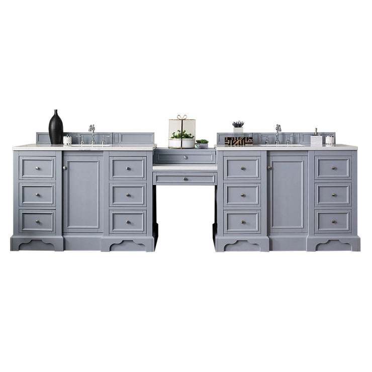 James Martin 825-V118-SL-DU-SNW De Soto 118 Inch Double Vanity Set in Silver Gray with Makeup Table in 3 CM Snow White Quartz Top