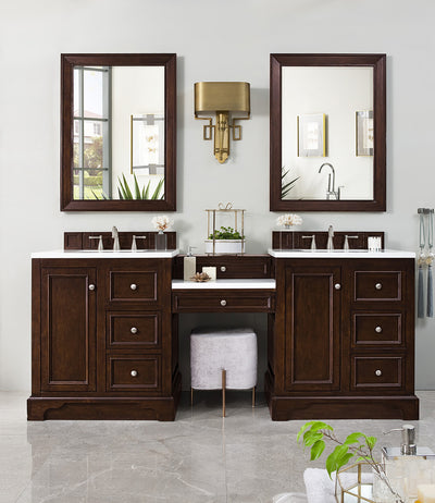 James Martin 825-V82-BNM-DU-AF De Soto 82 Inch Double Vanity Set in Burnished Mahogany with Makeup Table in 3 CM Arctic Fall Solid Surface Top