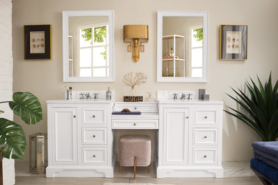James Martin 825-V82-BW-DU-SNW De Soto 82 Inch Double Vanity Set in Bright White with Makeup Table in 3 CM Snow White Quartz Top
