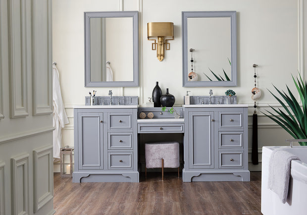 James Martin 825-V82-SL-DU-AF De Soto 82 Inch Double Vanity Set in Silver Gray with Makeup Table in 3 CM Arctic Fall Solid Surface Top