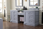 James Martin 825-V82-SL-DU-CAR De Soto 82 Inch Double Vanity Set in Silver Gray with Makeup Table in 3 CM Carrara Marble Top