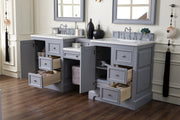 James Martin 825-V82-SL-DU-SNW De Soto 82 Inch Double Vanity Set in Silver Gray with Makeup Table in 3 CM Snow White Quartz Top