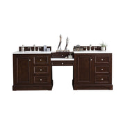 James Martin 825-V94-BNM-DU-CAR De Soto 94 Inch Double Vanity Set in Burnished Mahogany with Makeup Table in 3 CM Carrara Marble Top