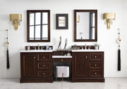 James Martin 825-V94-BNM-DU-SNW De Soto 94 Inch Double Vanity Set in Burnished Mahogany with Makeup Table in 3 CM Snow White Quartz Top