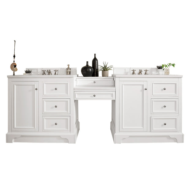 James Martin 825-V94-BW-DU-AF De Soto 94 Inch Double Vanity Set in Bright White with Makeup Table in 3 CM Arctic Fall Solid Surface Top