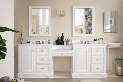 James Martin 825-V94-BW-DU-CAR De Soto 94 Inch Double Vanity Set in Bright White with Makeup Table in 3 CM Carrara Marble Top