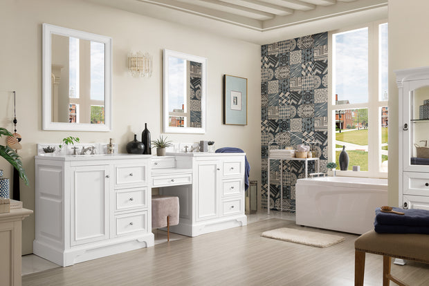 James Martin 825-V94-BW-DU-SNW De Soto 94 Inch Double Vanity Set in Bright White with Makeup Table in 3 CM Snow White Quartz Top