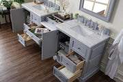 James Martin 825-V94-SL-DU-CAR De Soto 94 Inch Double Vanity Set in Silver Gray with Makeup Table in 3 CM Carrara Marble Top
