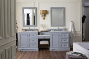 James Martin 825-V94-SL-DU-SNW De Soto 94 Inch Double Vanity Set in Silver Gray with Makeup Table in 3 CM Snow White Quartz Top