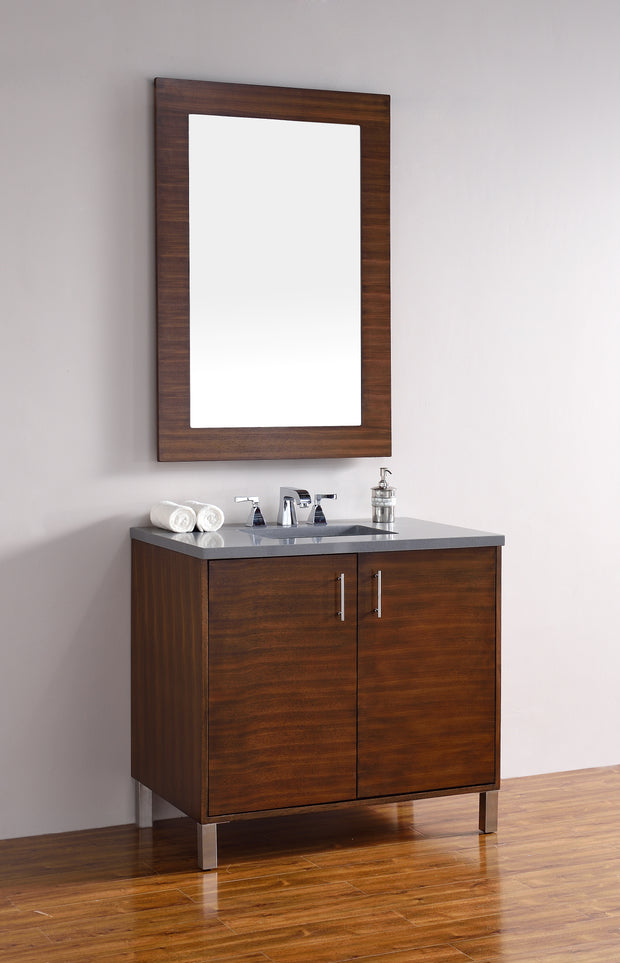 James Martin 850-V36-AWT-4CAR Metropolitan 36 Inch American Walnut Single Vanity with Carrara White Stone Top