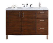 James Martin 850-V48-AWT-3SNW Metropolitan 48 Inch American Walnut Single Vanity with 3 CM Snow White Quartz Top