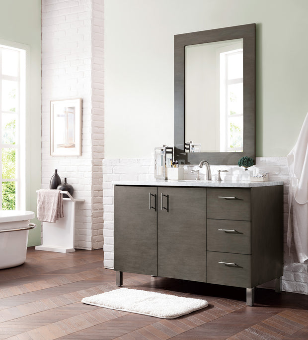 James Martin 850-V48-SOK-3SHG Metropolitan 48 Inch Silver Oak Single Vanity with 3 CM Shadow Gray Quartz Top