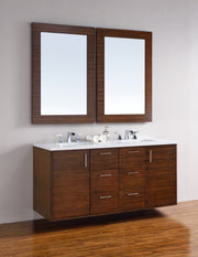 James Martin 850-V60D-AWT-3SHG Metropolitan 60 Inch American Walnut Double Vanity with 3 CM Shadow Gray Quartz Top