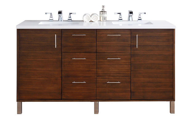 James Martin 850-V60D-AWT-3SNW Metropolitan 60 Inch American Walnut Double Vanity with 3 CM Snow White Quartz Top
