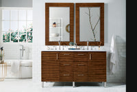 James Martin 850-V60D-AWT-4BLK Metropolitan 60 Inch American Walnut Double Vanity with Absolute Black Rustic Stone Top