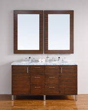 James Martin 850-V60D-AWT-4CAR Metropolitan 60 Inch American Walnut Double Vanity with Carrara White Stone Top