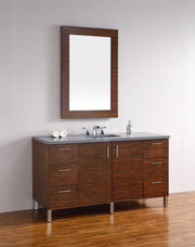 James Martin 850-V60S-AWT-4CAR Metropolitan 60 Inch American Walnut Single Vanity with Carrara White Stone Top