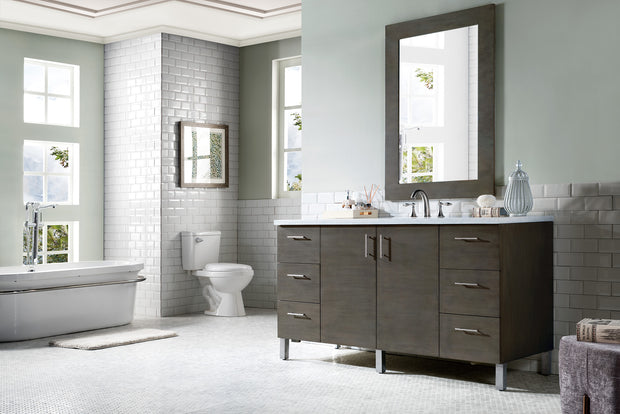 James Martin 850-V60S-SOK-3SNW Metropolitan 60 Inch Silver Oak Single Vanity with Snow White Quartz Top